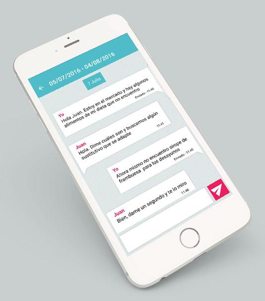 Más funcionalidades: chat. Dietalba nutrición online.
