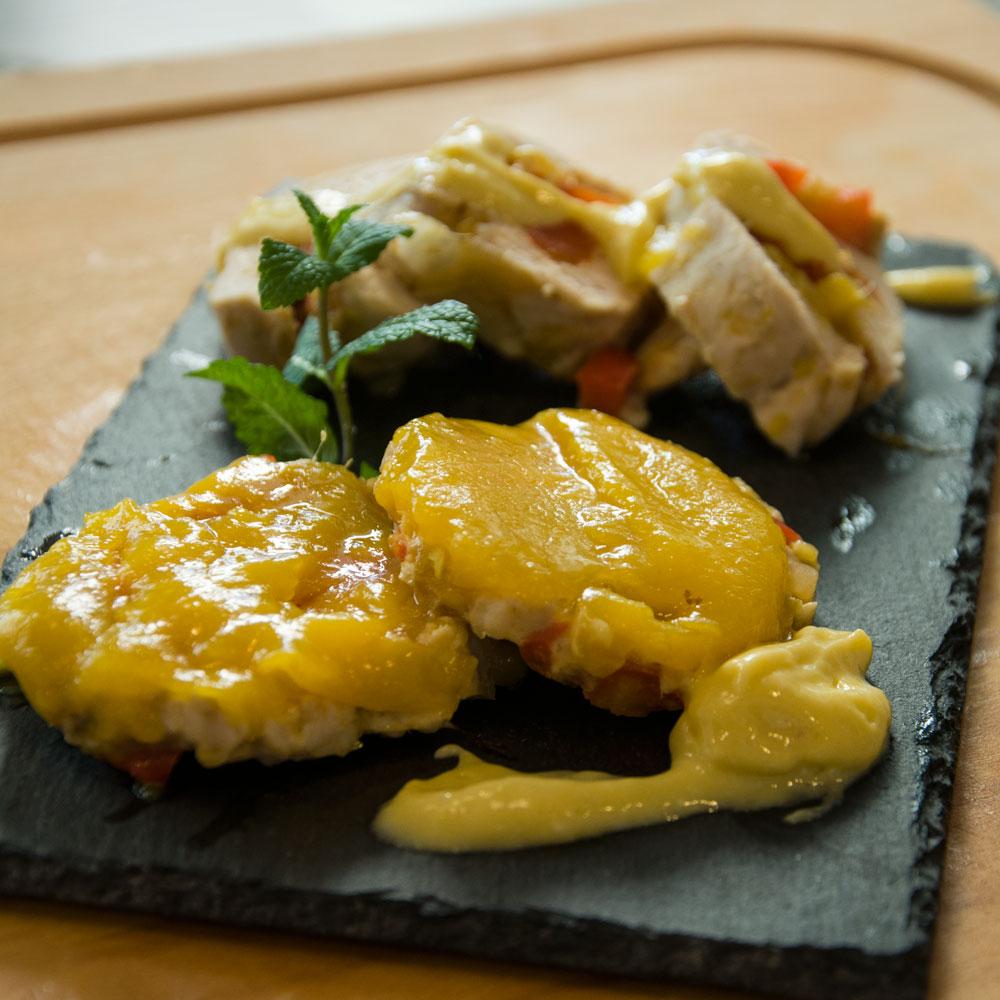 Recetas Navideñas. Fiambre y tartaletas de pollo y mango